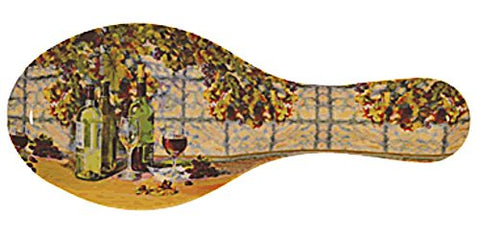 Melamine Spoon Rest Vintage Wine Design 9 1/2 Inches Long