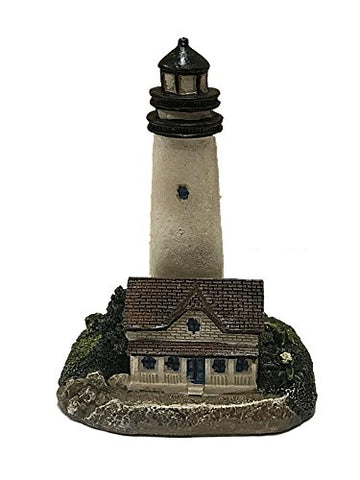 Small Resin Lighthouse Figurine 4.5 Inches (White W/White Brick House)