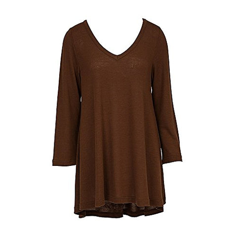 V Neck Tunic Top 3/4 Sleeve Brown (XXL)