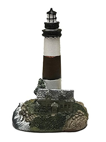 Small Resin Lighthouse Figurine 4.5 Inches (White and Brown W/Cottage)