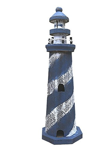 Wooden Weathered Look Lighthouse 10 Inches Tall (Dark Blue and White Candy Stripe)