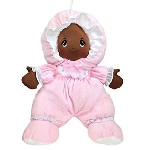 Black Baby Doll with Pretty Embroidered Face and Pink Outfit