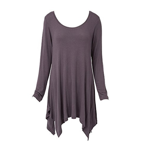 Handkerchief Tunic Top Long Sleeve Dark Gray(XXL)