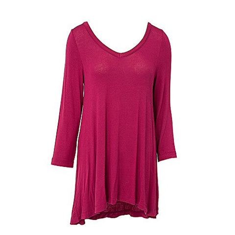 V Neck Tunic Top 3/4 Sleeve Raspberry (XXL)