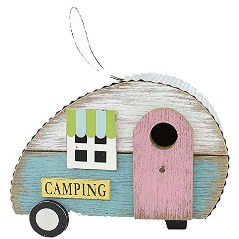 Wooden Retro Camper Bird House With Pink Door 9.5 Inches