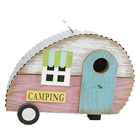 Wooden Retro Camper Bird House With Blue Door 9.5 Inches