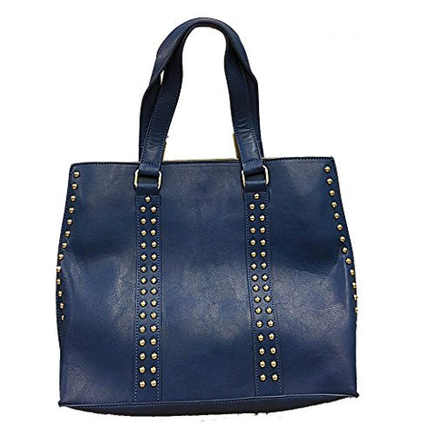 Two In One Tote Handbag with Studs Royal and Gray