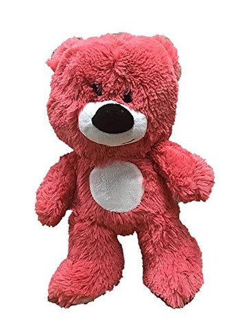 Super Soft and Fuzzy Plush Bear 10.5 Inches Coral