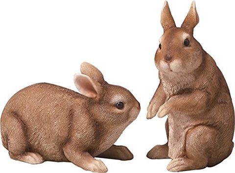 Set of 2 Resin Natural Rabbit Figurines
