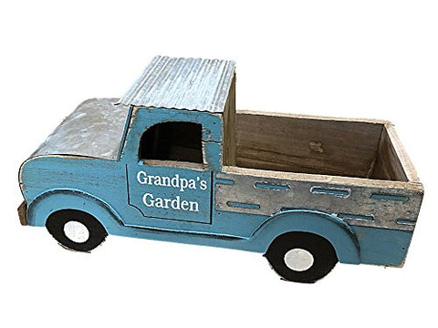 Wooden Blue Truck Planter Box Says Grandpas Garden