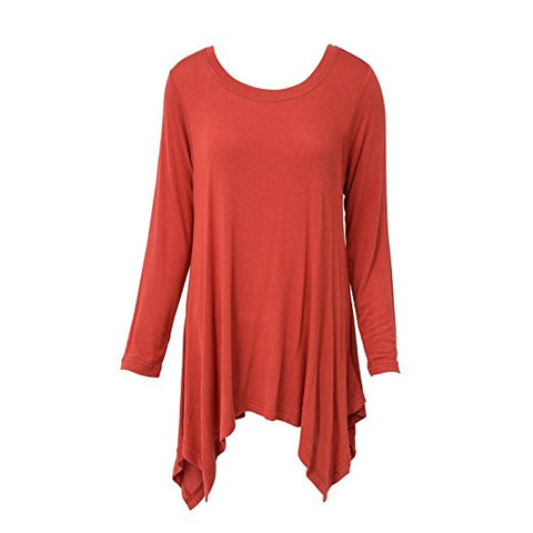 Handkerchief Tunic Top Long Sleeve Rust
