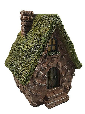Resin Stone A Frame Fairy House 6.5 Inches (Brown W/ Green Roof)