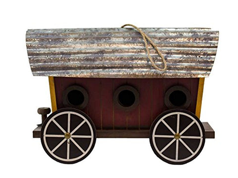 Wood Covered Wagon Bird House 13 Inches