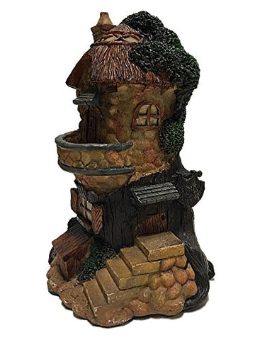 "Resin Miniature Fairy Garden Tree House Brown 8.25"" Tall"