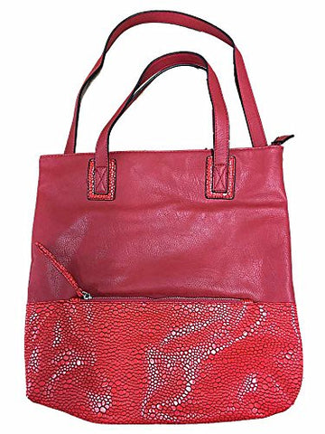 Large Tote Handbag Red With Faux Snake Skin Bottom