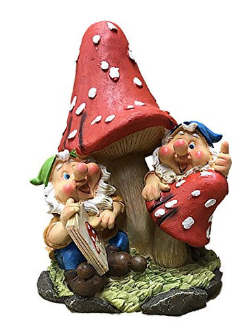 "Resin Garden Mushroom With Sitting Gnomes 10.5"" Tall"