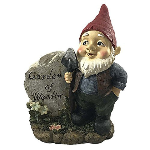 Gnome Garden Sign Says Garden Of Weedin 8 Inches Tall