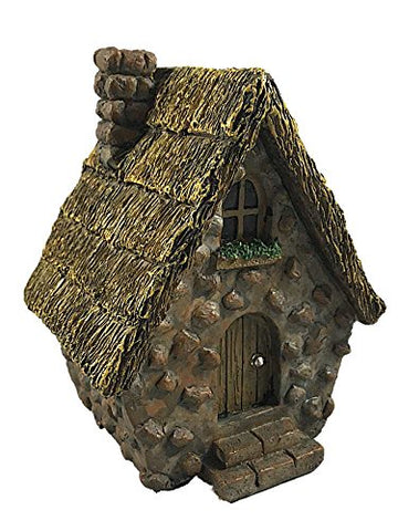 Resin Stone A Frame Fairy House 6.5 Inches (Gray W/ Yellow Roof)
