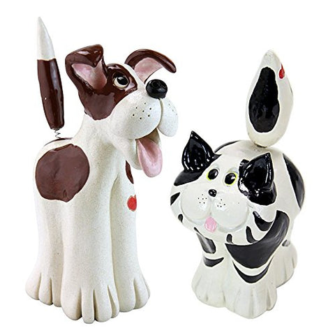 Pence Pets Cat and Dog Statue Set