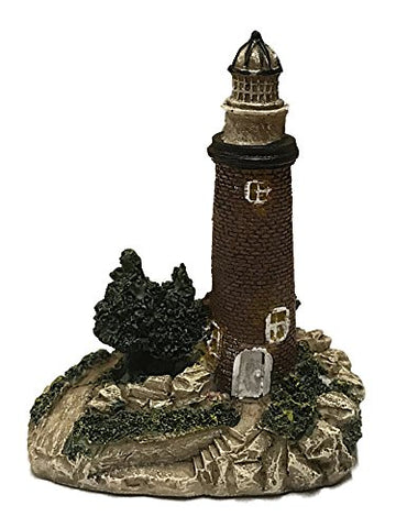 Small Resin Lighthouse Figurine 4.5 Inches (Brown Brick)