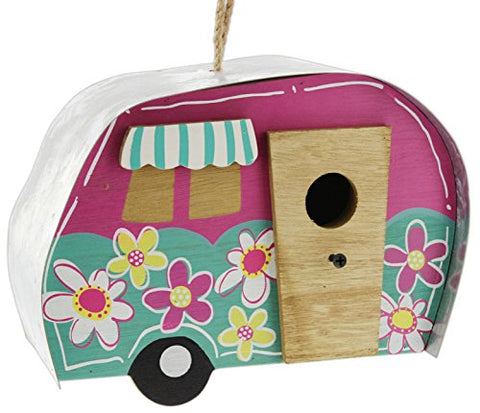 "Direct International 9"" Retro 'Flower Power' Wood Camper Birdhouse with Galvanized Metal Roof"