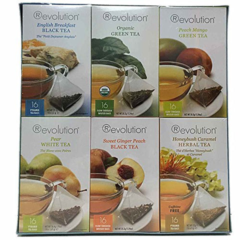 Tea Sampler with 6 Flavors and 96 tea bags