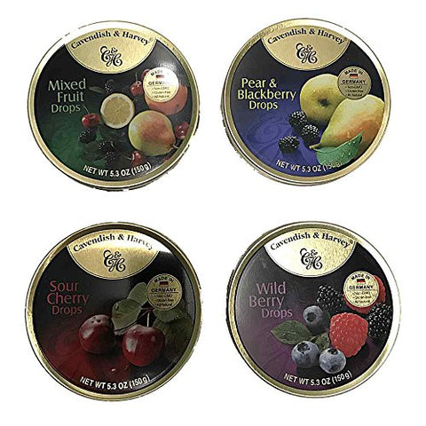 Cavendish & Harvey Hard Candy Drops 4 Flavors 5.3 ounce Tins