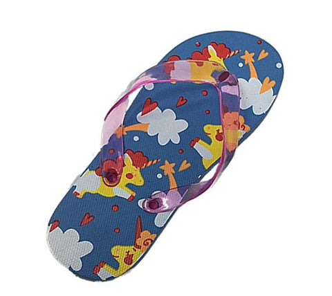 Womens Flip Flops with Unicorn and Rainbows, Blue