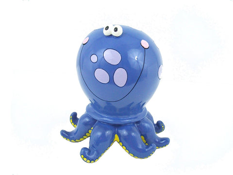 Octopus Child's Bank Blue Polka Dot