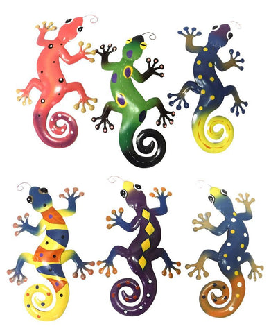 Home Decoration Metal Gecko Wall Plaques Set of 6