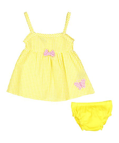 Infant Girl Seersucker A Line Dress and Diaper Cover Yellow With Butterfly (3/6M)