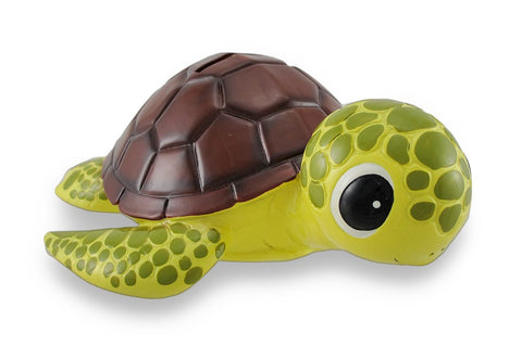 Bobble Head Child's Bank Sea Turtle With Brown Shell