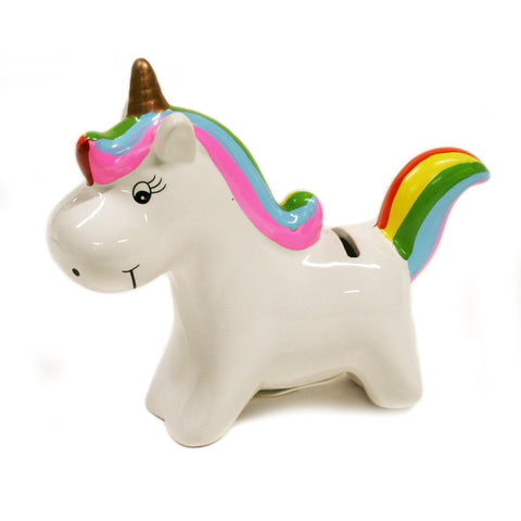 Ceramic Child's Bank Rainbow Unicorn