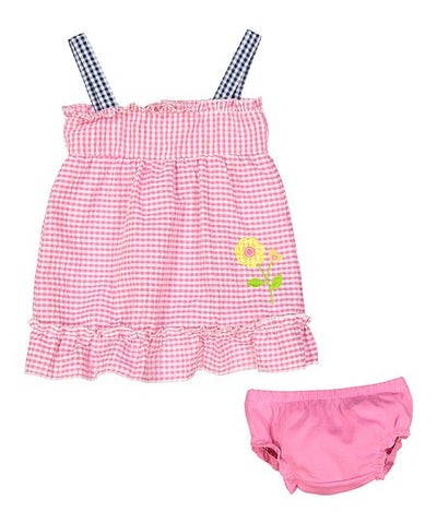 Infant Girl Seersucker A Line Dress and Diaper Cover Pink With Flower (12M)