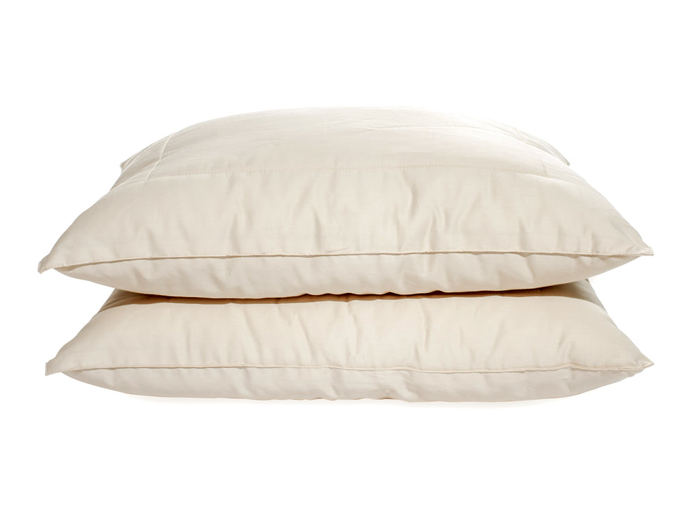 Certified organic wool pillow. GOTS certified organic. Made in USA. For side, back and stomach sleepers.