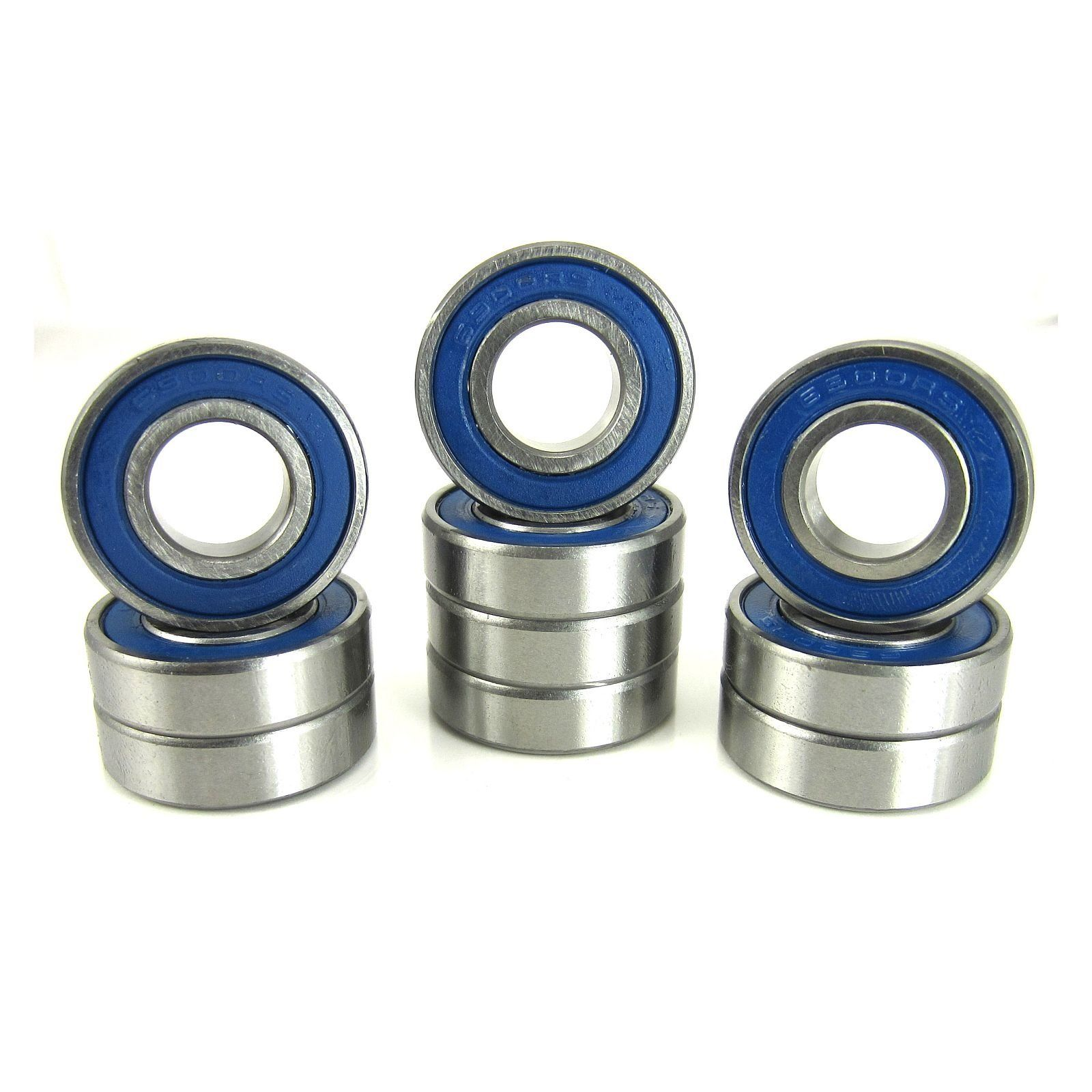 TRB RC 10x22x6mm Precision Ball Bearings ABEC 3 BLU Rubber Seals (10) - trb-rc-bearings