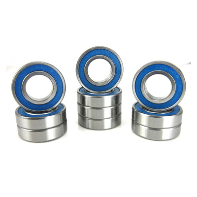 TRB RC 12x24x6mm Precision Ball Bearings ABEC 3 BLU Rubber Seals (10) - trb-rc-bearings