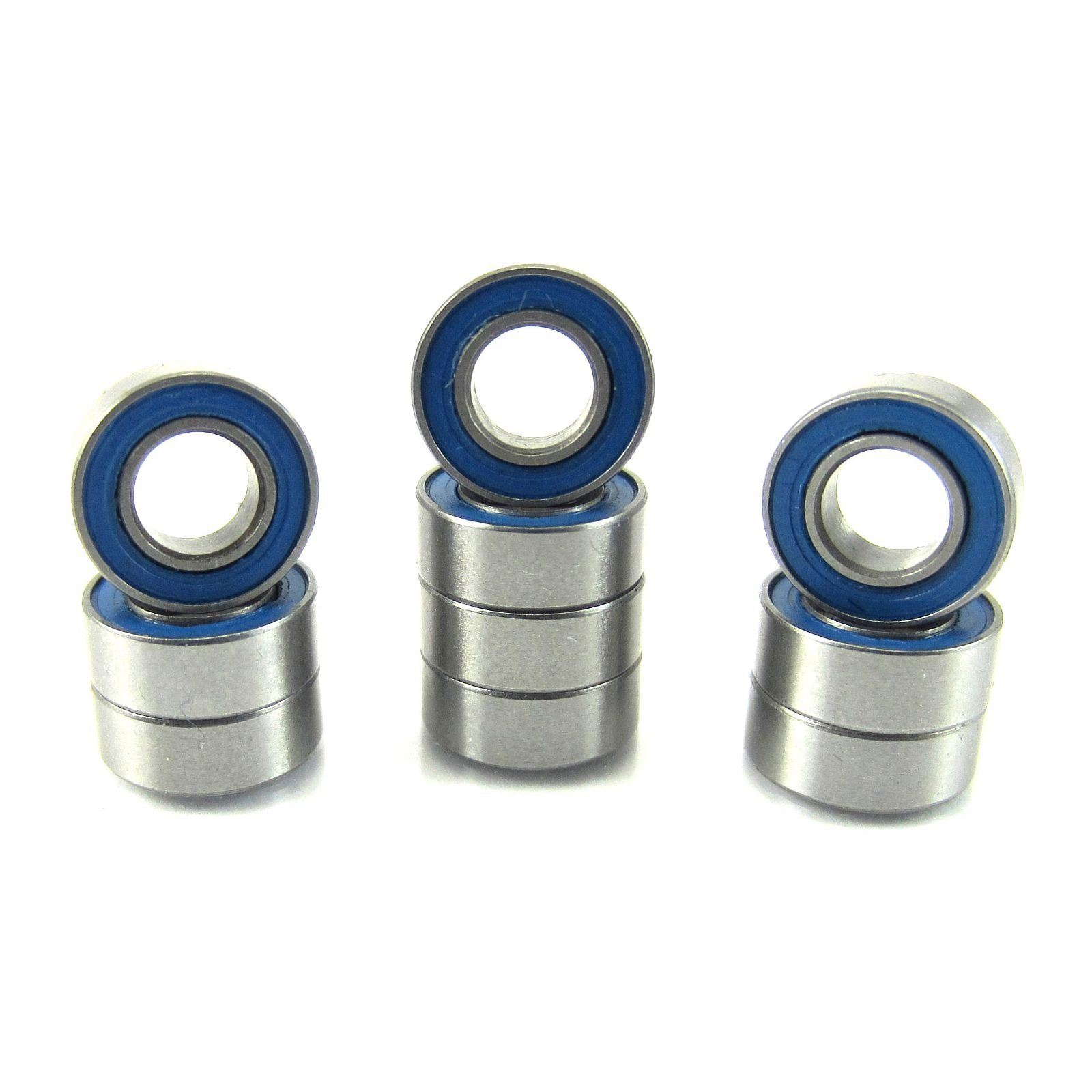 TRB RC 4x8x3mm Precision Ball Bearings ABEC 3 BLU Rubber Sealed (10) - trb-rc-bearings
