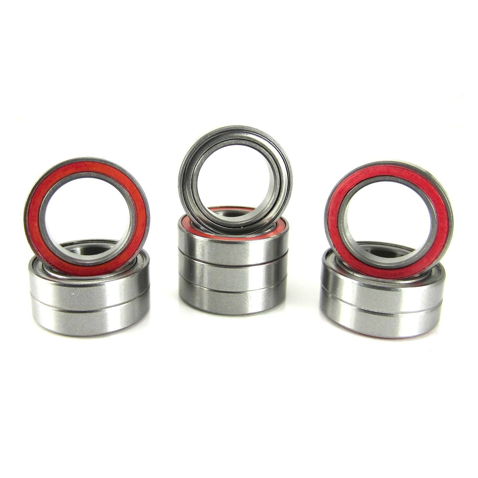 TRB RC 12x18x4mm Precision Ball Bearings ABEC 3 Hybrid Seals RED (10) - trb-rc-bearings