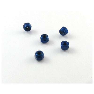 TRB RC M3x0.5mm Aluminum Lock Nut Blue 5.5mm Hex (5) - trb-rc-bearings