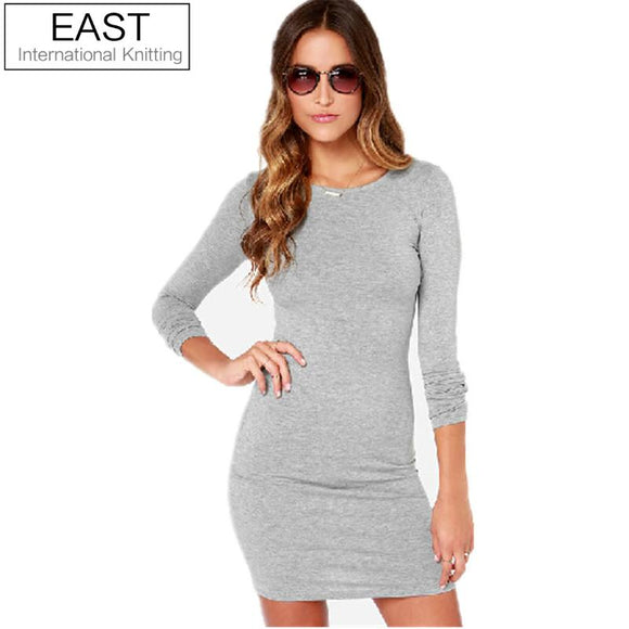 East Knitting E52 2017 New Fashion Spring Women  Dress Long Sleeve Korean Casual Dress Solid Office Dress O-Neck