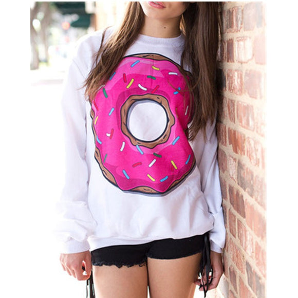 EAST KNITTING H182 Korean New Latest Tops O-neck  Sweatshirt  3D  Food Print  Pullovers for Girls