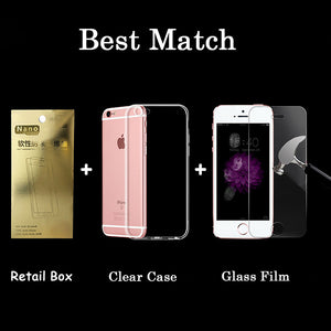 6s HD Clear Premium Tempered Glass Screen Protector for Iphone 5 5s SE 6 6s Plus Toughened Protective Film + Phone Case package