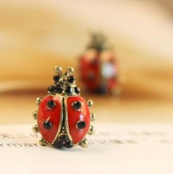 1Pair New Cute Style Girls Lady Red Ladybug Alloy Stud Earring Jewelry