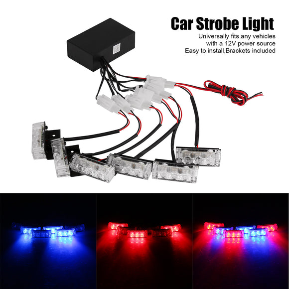 6 Bars 3-LED Blue & Red Car Emergency Warning Strobe Light 3 Mode for Auto Front Grille Boat Police Car