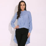 Celmia Striped Stand Collar Blusas 2017 Autumn Casual Blouses Feminino Long Sleeve Shirts Asymmetrical Split Top Plus Size S 3XL