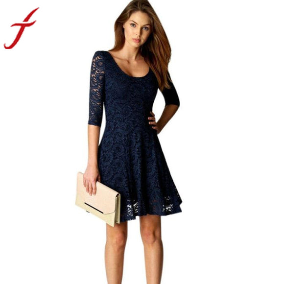 Fashion New Lace Dress 2017 Sexy Lady Women Office Wear Half Sleeve Party Evening Short A-Line Mini Dress