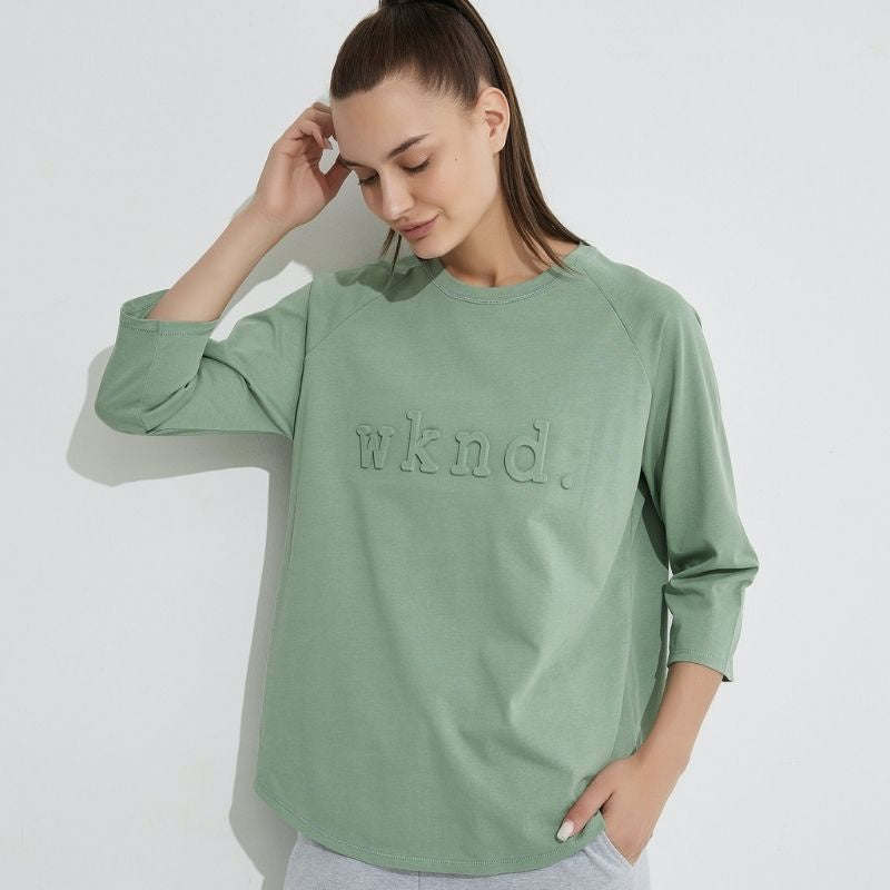 3/4 Sleeve Raised Text Crew - Soft Jade