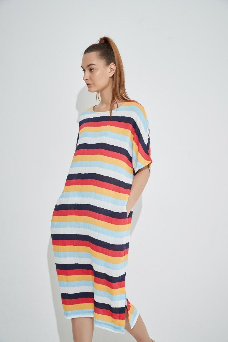 Navy Multi Stripe Dress