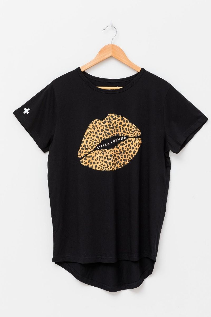 Black Leopard Lips Tee